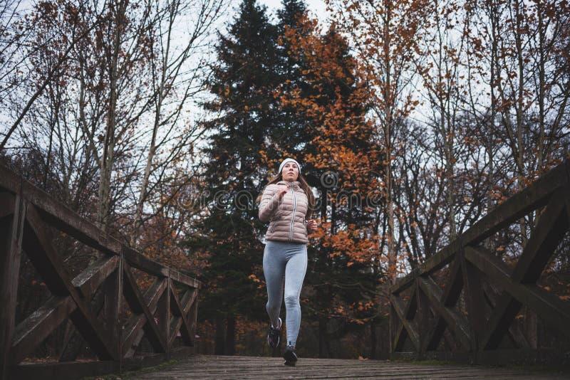 Młoda kobieta jogging na zimnym dniu w parku zdjęcia stock