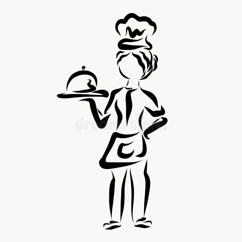 Młoda kobieta kucharz z naczyniem w jej ręce ilustracji