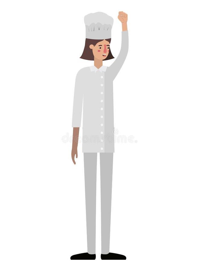 Młoda kobieta kucharz z ręką w górę avatar charakteru ilustracja wektor