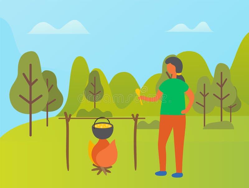 Młoda Kobieta Kulinarny Karmowy pinkin w Parkowym lesie ilustracji