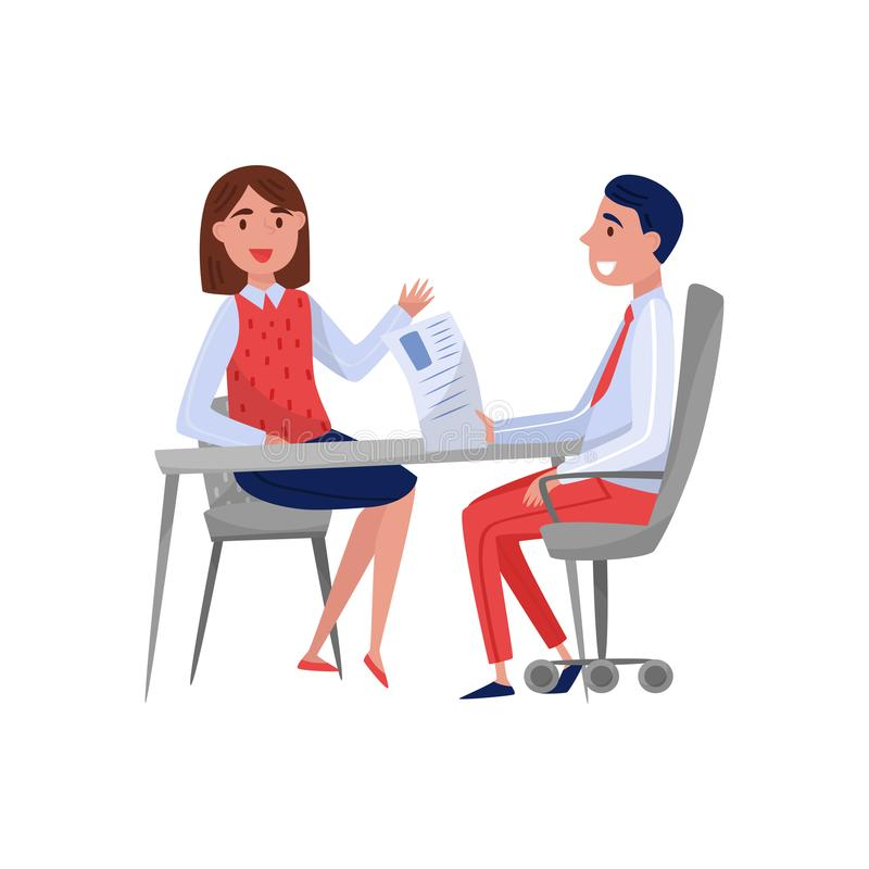 Młoda kobieta ma akcydensowego wywiad z i opowiada wektor HR specjalisty, jobseeker i pracodawcy obsiadaniem, przy stołem ilustracja wektor