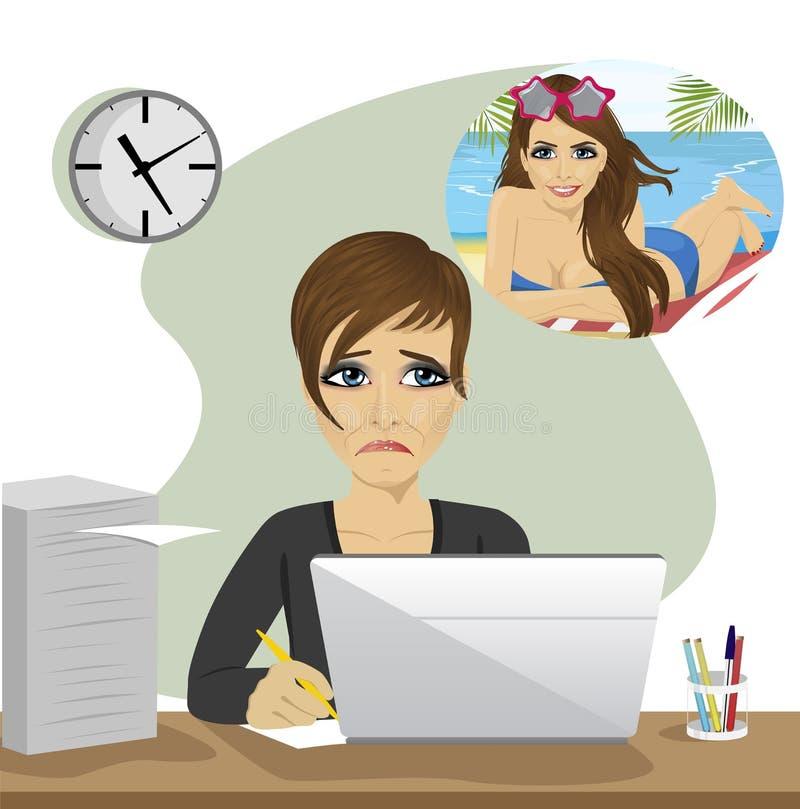 Młoda kobieta marzy o urlopowym obsiadaniu z laptopem w biurze royalty ilustracja