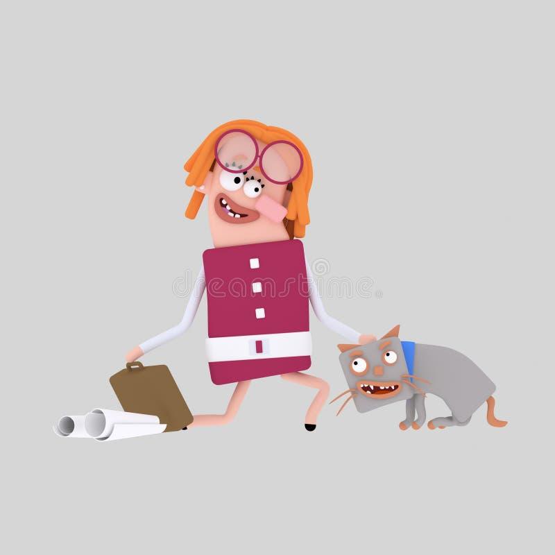 Młoda kobieta migdali popielatego kota royalty ilustracja