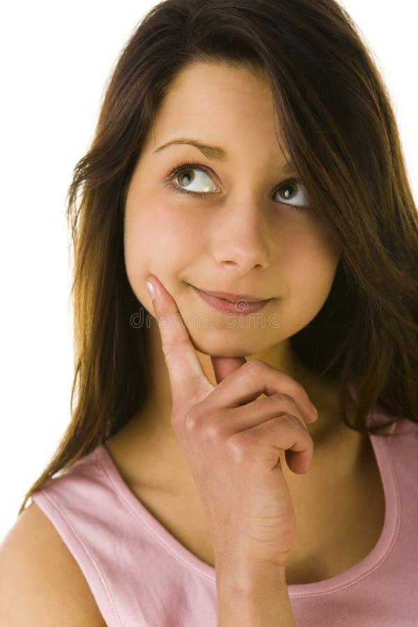 młoda kobieta myślące obrazy stock
