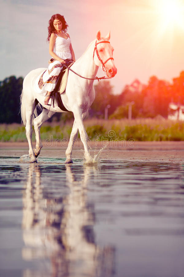 Młoda kobieta na koniu Horseback jeździec, kobieta jeździecki koń na b obraz royalty free