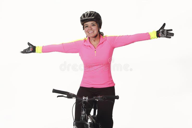 Młoda kobieta na rowerze obrazy royalty free