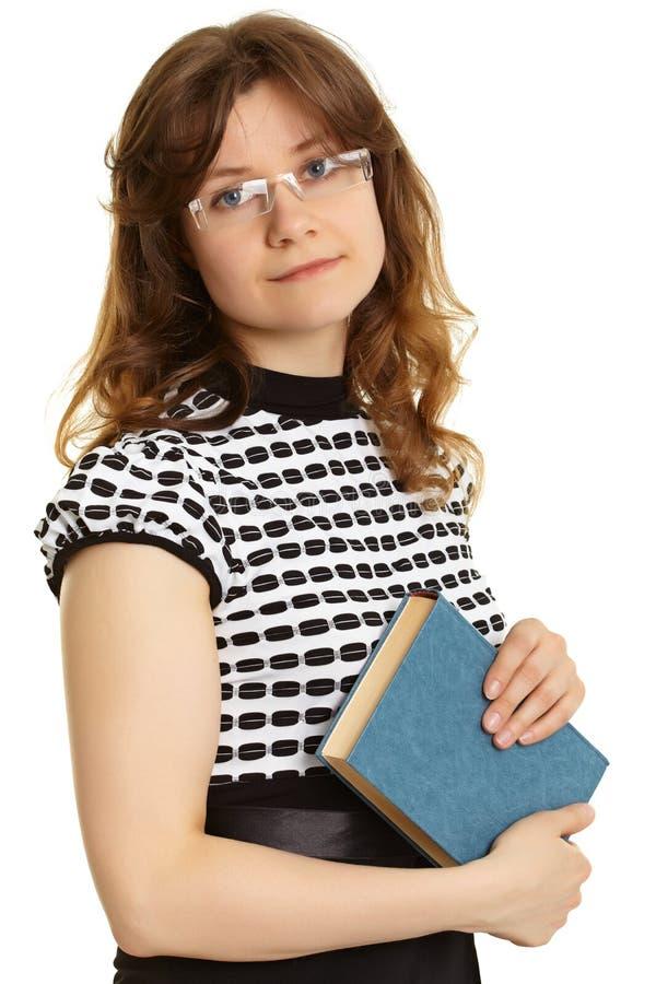 Młoda kobieta - nauczyciel z książką obraz stock