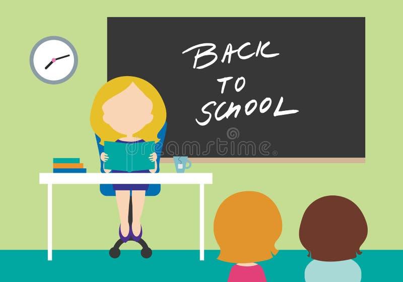 Młoda kobieta - nauczyciela obsiadanie na krześle za stołem w szkolnym cl ilustracja wektor