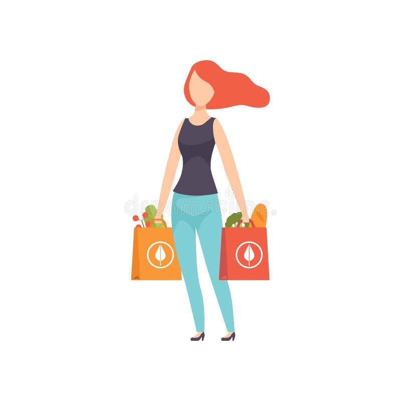 Młoda kobieta niesie papierowe torby z zdrowym jedzeniem, dziewczyna robi zakupy przy sklepu spożywczego sklepu wektorową ilustra ilustracji