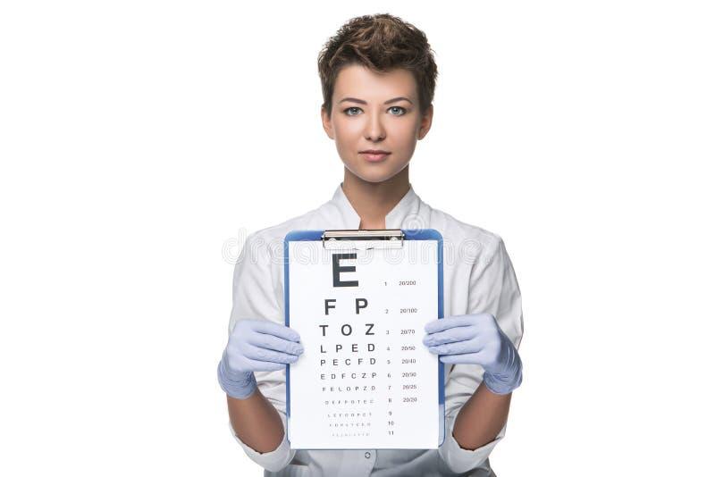 Młoda kobieta oftalmolog z oko mapą fotografia stock