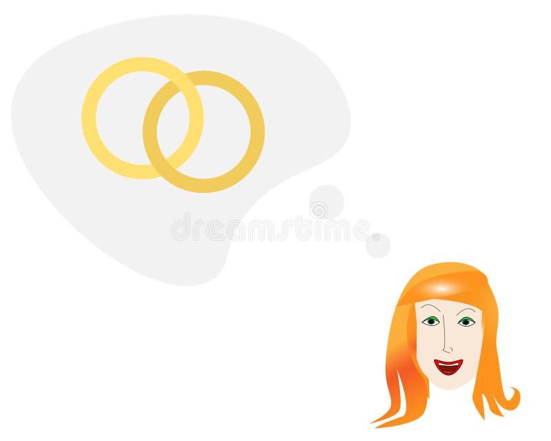 Młoda kobieta patrzeje naprzód dostawać zamężny ilustracja wektor