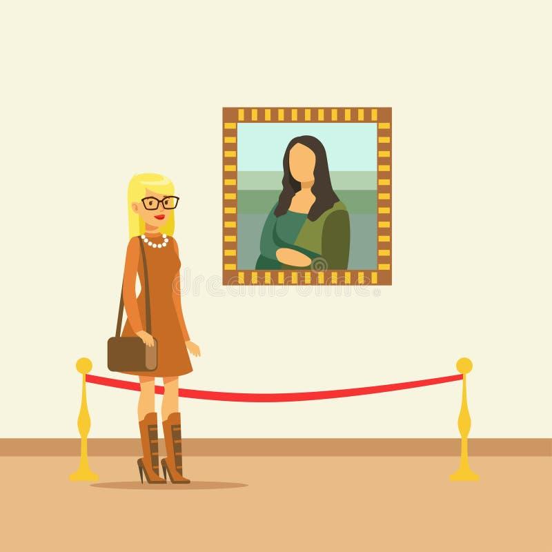 Młoda kobieta patrzeje obrazu obwieszenie na galerii ścianie ilustracja wektor