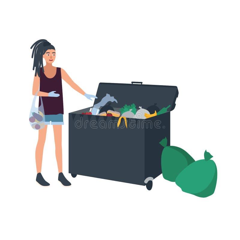 Młoda kobieta podnosi pozostawionego jedzenie od śmieciarskiego zbiornika lub kosz na śmieci z dreadlocks Żeński freegan śmietnik ilustracja wektor