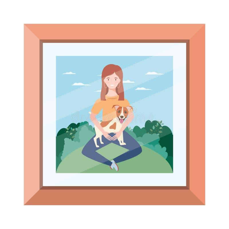 Młoda kobieta podnosząca słodkiego psa na zdjęciu ilustracja wektor