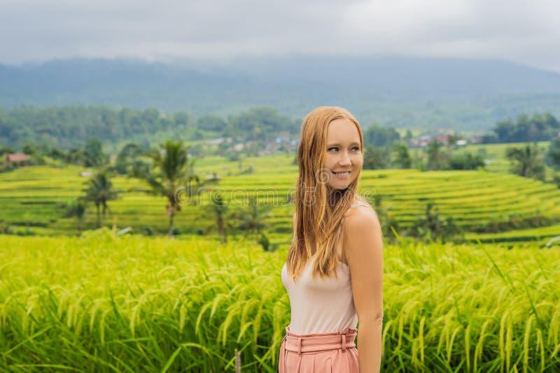 Młoda kobieta podróżnik na Pięknym Jatiluwih Rice Tarasuje przeciw tłu sławni volcanoes w Bali, Indonezja obraz royalty free