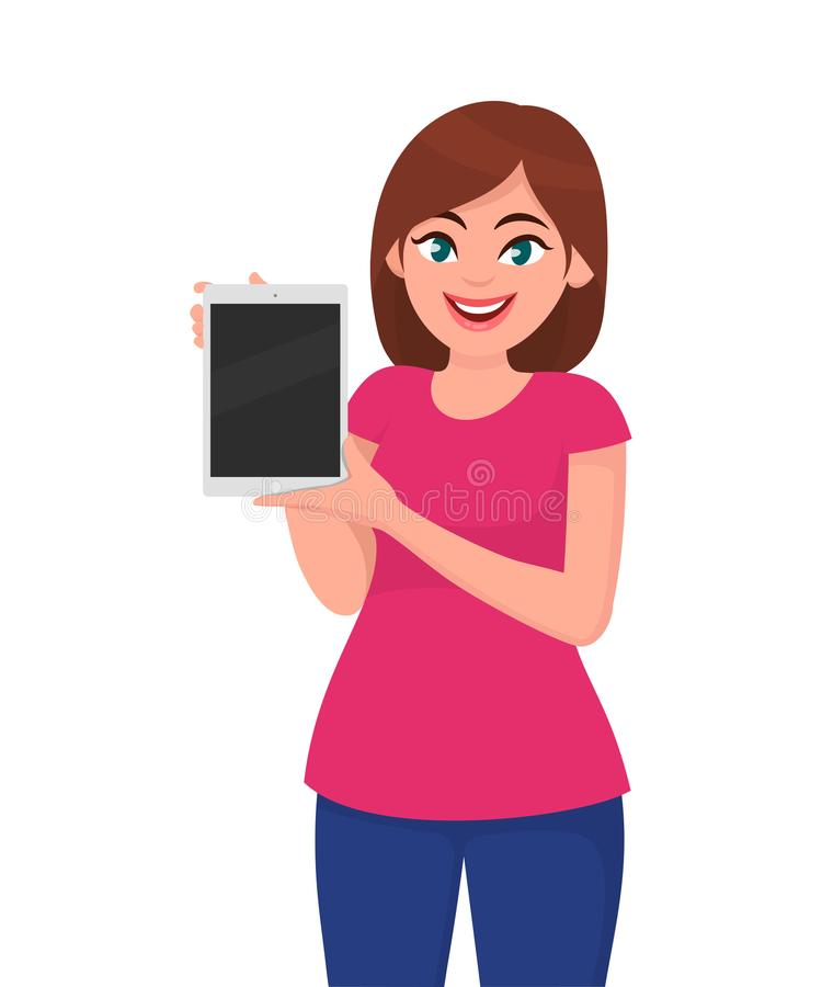 Młoda kobieta pokazuje pustego pastylka komputer royalty ilustracja