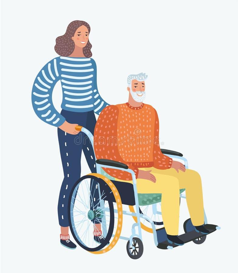 Młoda kobieta pracownik opieki społecznej spaceruje z starsza osoba popielatym z włosami mężczyzna w wózku inwalidzkim ilustracji