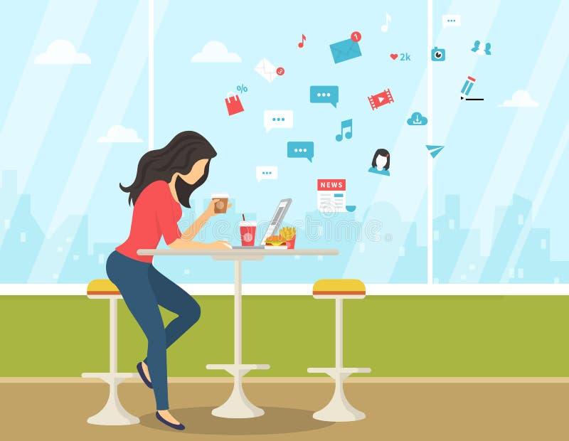 Młoda kobieta pracuje z laptopem, je hamburger i pije kawę w studenckiej kawiarni, ilustracja wektor