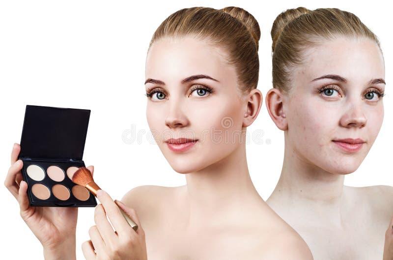 Młoda kobieta przed i po obrysowywać makeup obraz stock