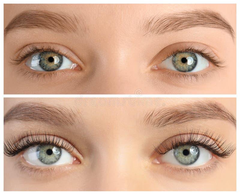 Młoda kobieta przed i po rzęsy rozszerzenia procedurą obrazy stock