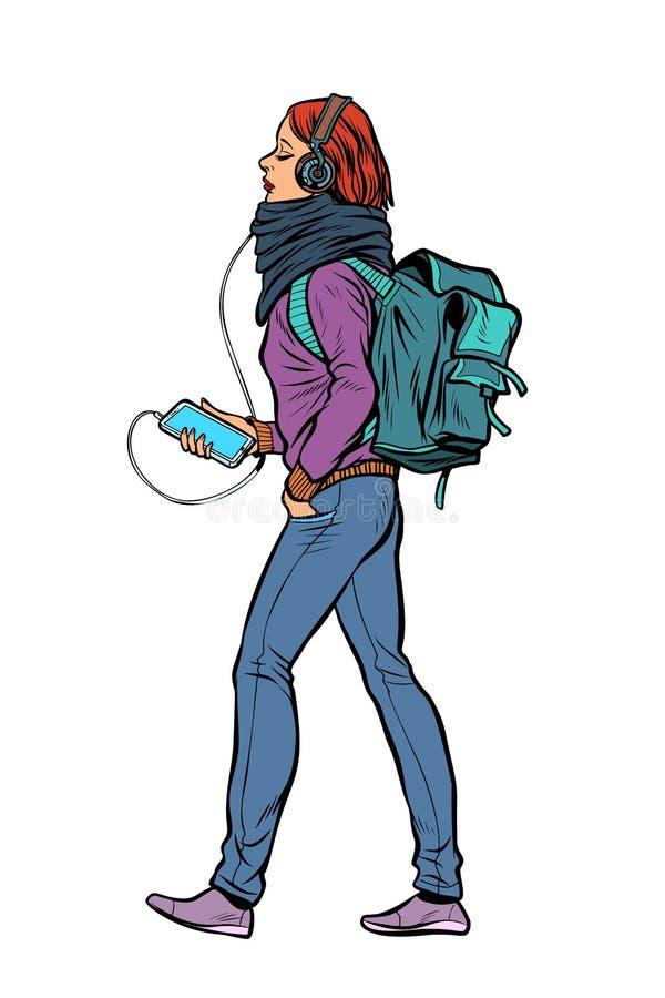 Młoda kobieta słucha muzyka w hełmofonach z smartphone ilustracja wektor