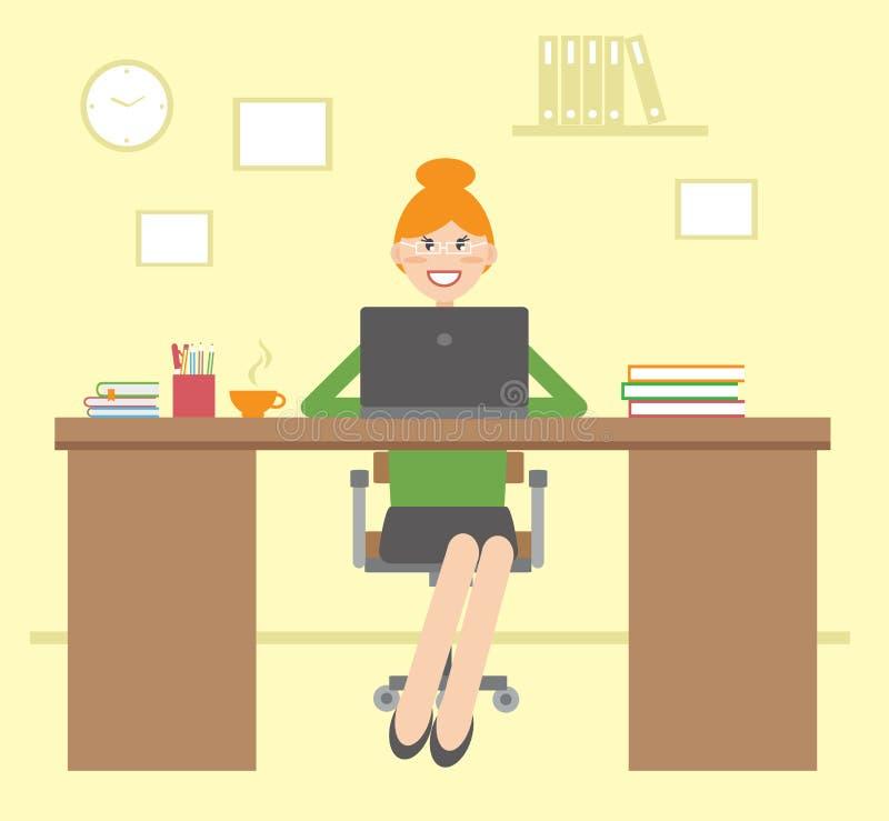 Młoda kobieta siedzi przy stołem yping na laptopie t i ilustracji
