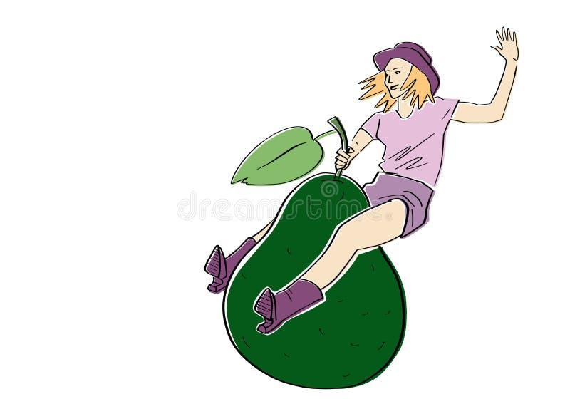 M?oda kobieta skacze na avocado ilustracji