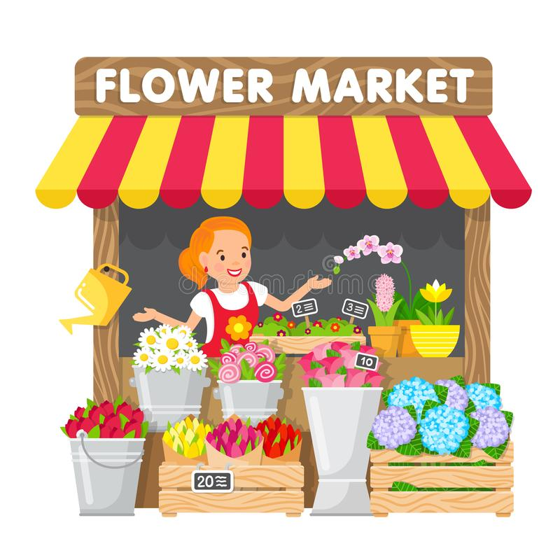 Młoda kobieta sprzedaje kwiaty w jej kwiatu sklepie w miejscowego rynku ilustracji