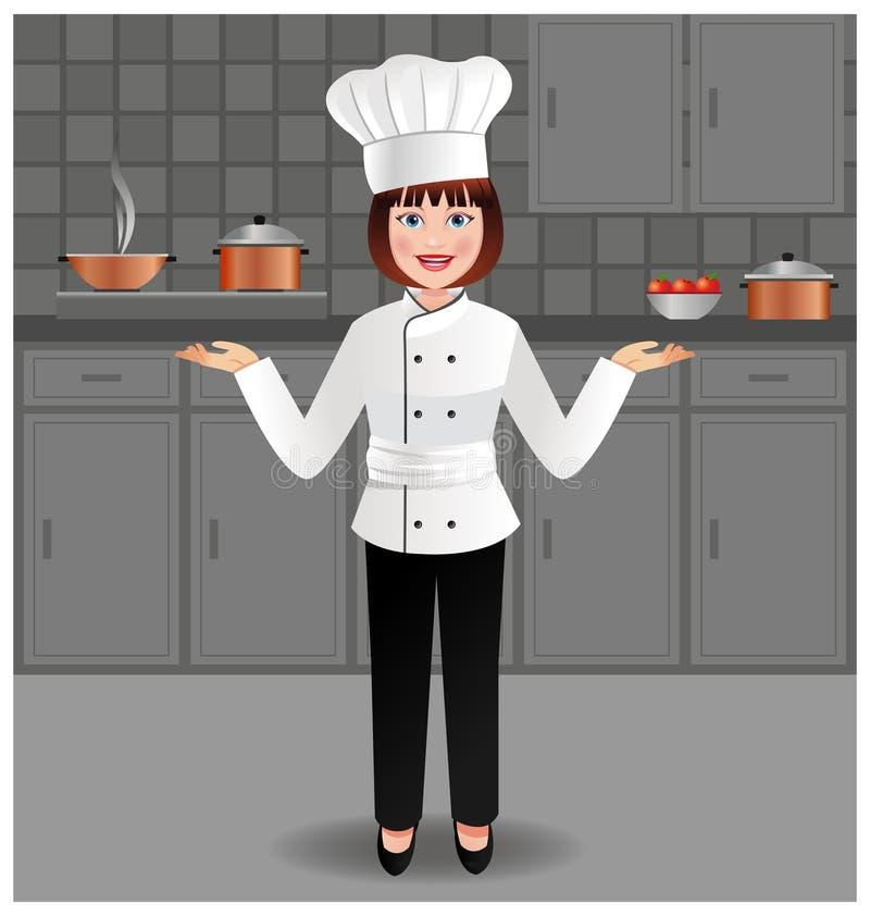 Młoda kobieta szef kuchni w jej kuchni ilustracji
