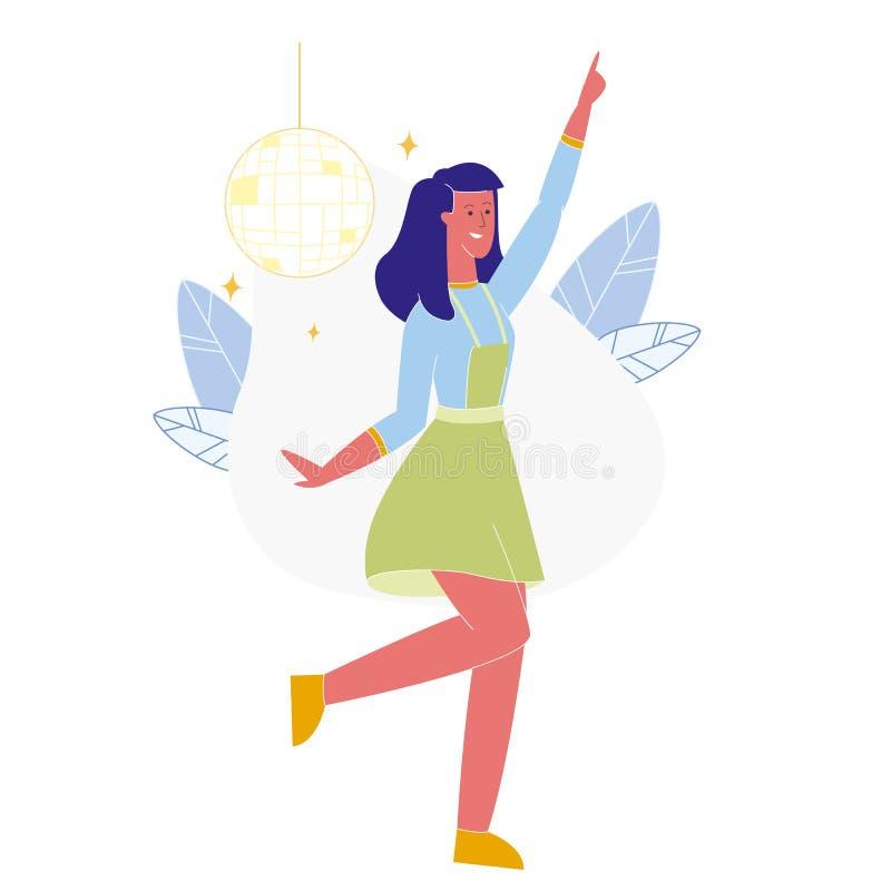 Młoda Kobieta Tanczy Samotną Płaską Wektorową ilustrację ilustracja wektor