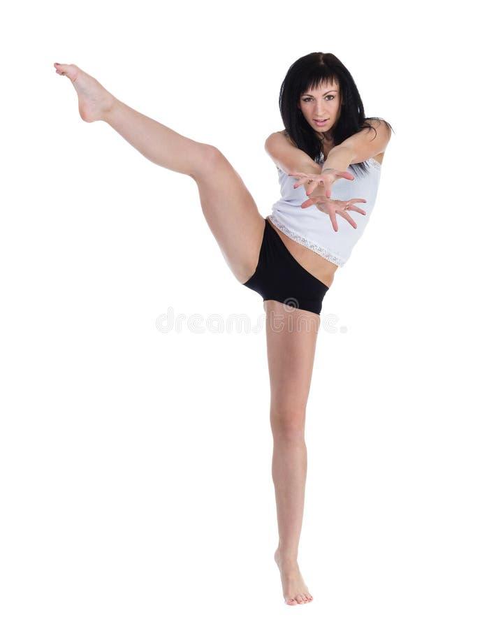 Młoda kobieta taniec, odizolowywający w pełnym ciele na bielu fotografia stock