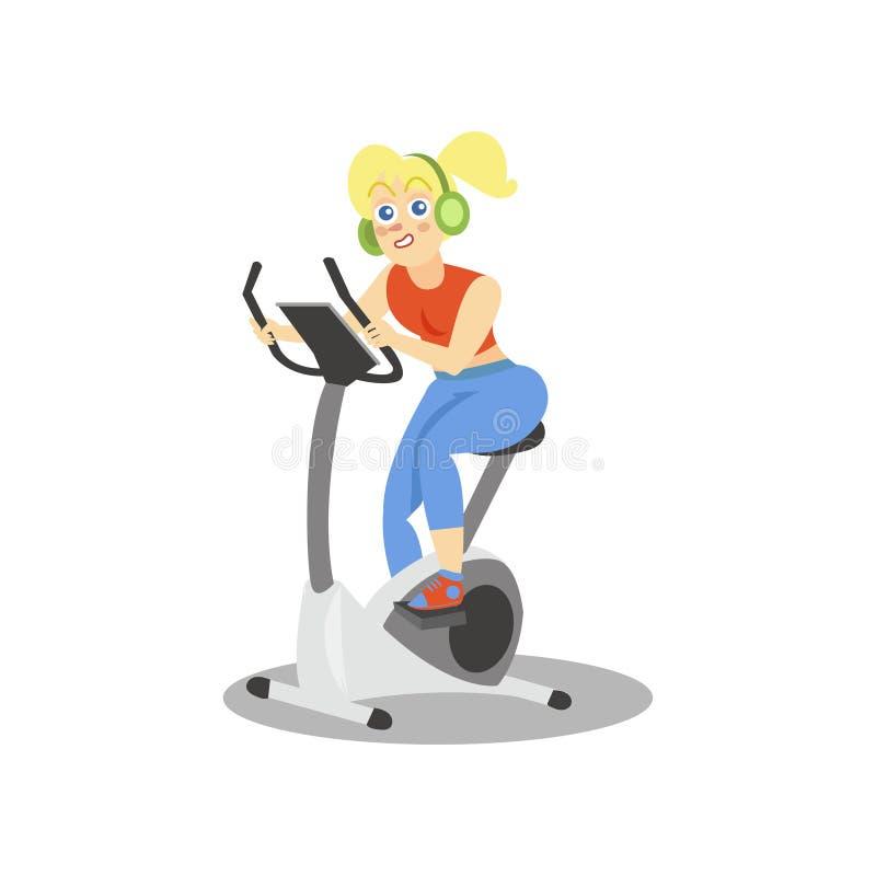 Młoda kobieta trenuje na ćwiczenie rowerze, dziewczynie pracującej w sprawność fizyczna klubie lub gym w hełmofonach, out, aktywn ilustracji