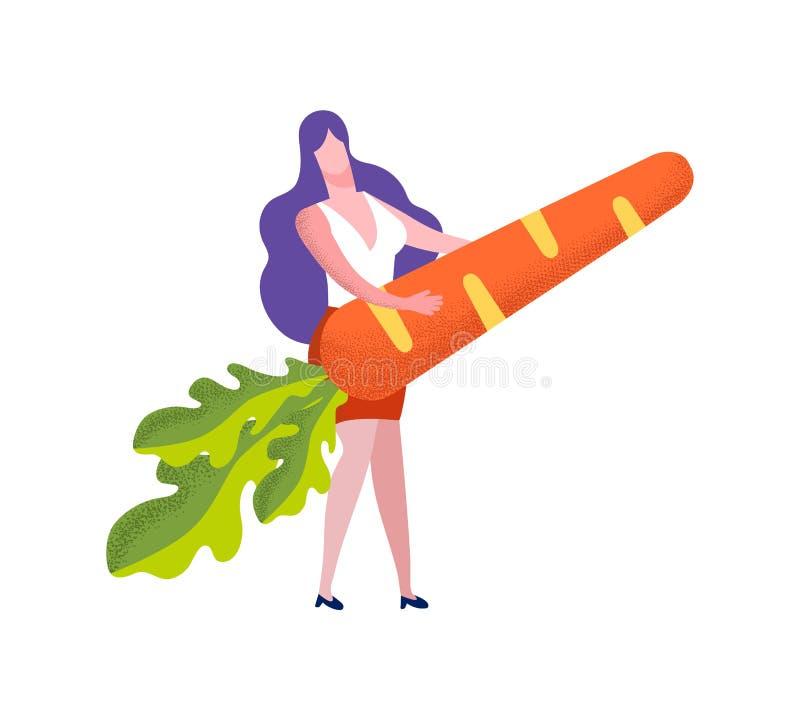 Młoda Kobieta Trzyma Ogromnej marchewki Odizolowywająca na bielu royalty ilustracja