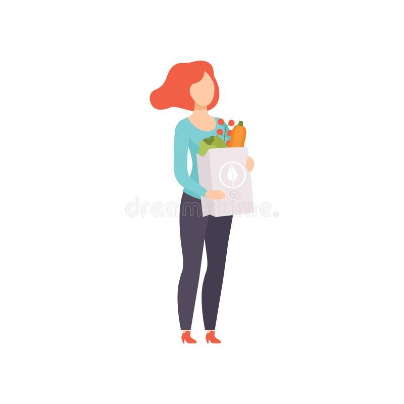 Młoda kobieta trzyma papierową torbę z zdrowym jedzeniem, dziewczyna robi zakupy przy sklepu spożywczego sklepu wektorową ilustra ilustracja wektor