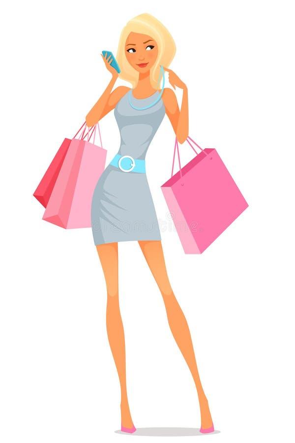 Młoda kobieta używa jej telefon podczas gdy robiący zakupy royalty ilustracja