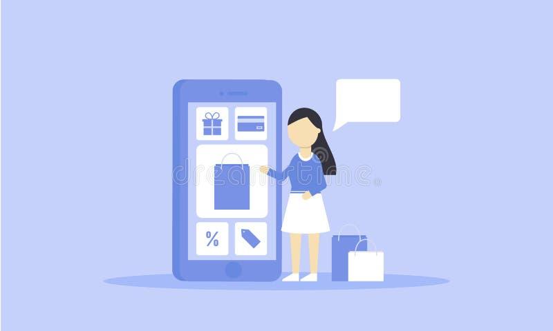 M?oda kobieta u?ywa smartphone dla onlinego kupienia szablon P?aski projekt Proces mobilny zakupy r?wnie? zwr?ci? corel ilustracj royalty ilustracja