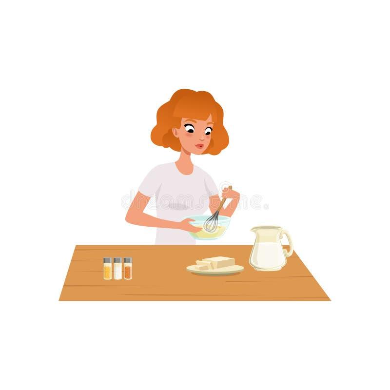 Młoda kobieta ugniata ciasto, dziewczyna przygotowywa zdrowego posiłek w kuchennej wektorowej ilustraci na białym tle ilustracji