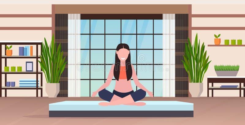 Młoda kobieta uprawiająca jogę ćwiczy uśmiechniętą dziewczynę z fitness sportowej siedzącą na lotusie, tworzy koncepcję ilustracja wektor