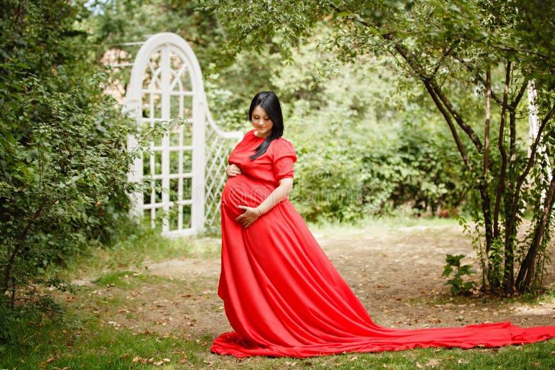 Młoda kobieta w ciąży w jesień ogródzie obrazy royalty free