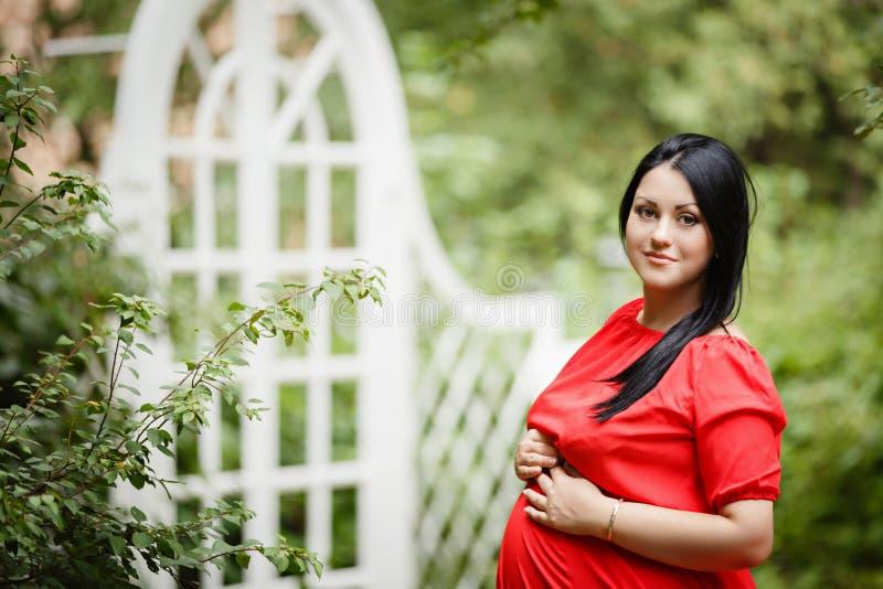 Młoda kobieta w ciąży w jesień ogródzie obrazy stock