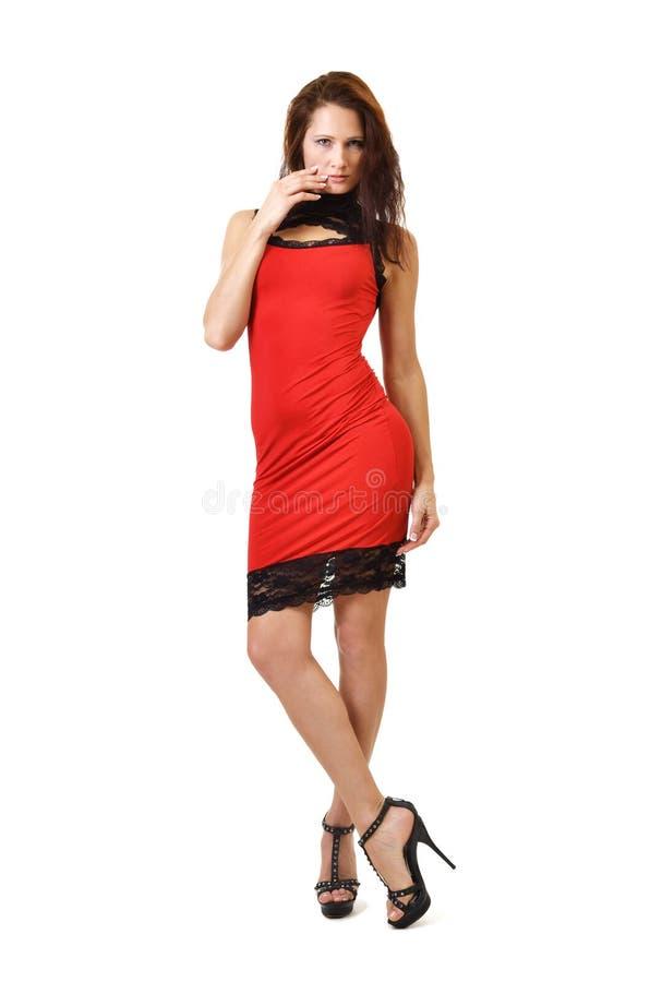 Młoda kobieta w czerwonej sukni zdjęcie stock