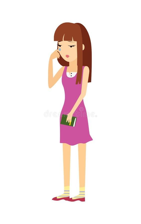 Młoda Kobieta w depresji Płaskiej Wektorowej ilustraci royalty ilustracja