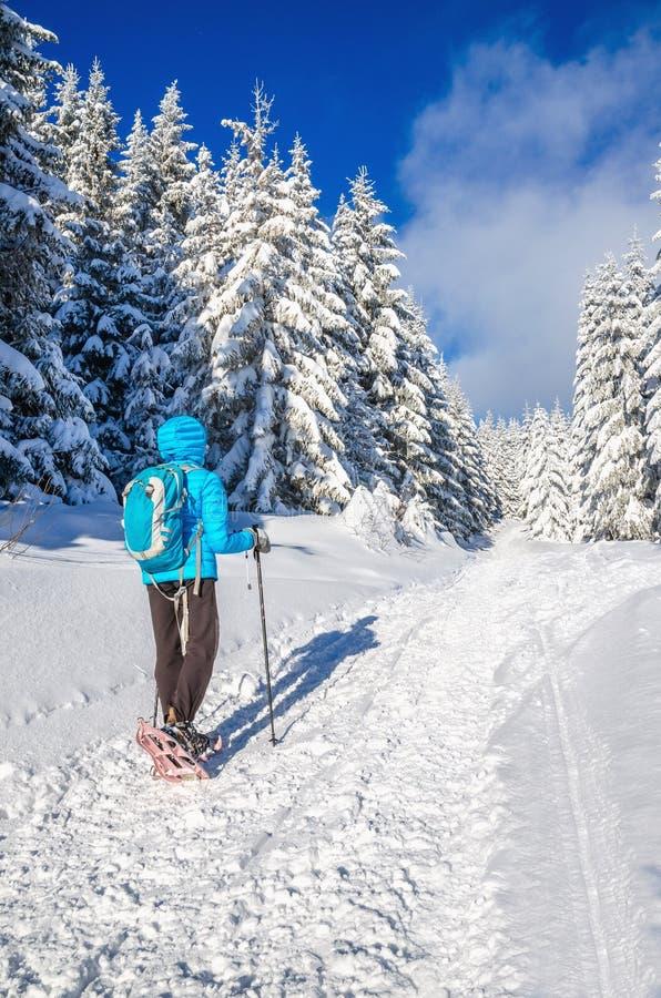 Młoda kobieta w jutrzenkowej kurtce z plecakiem, zima obraz stock