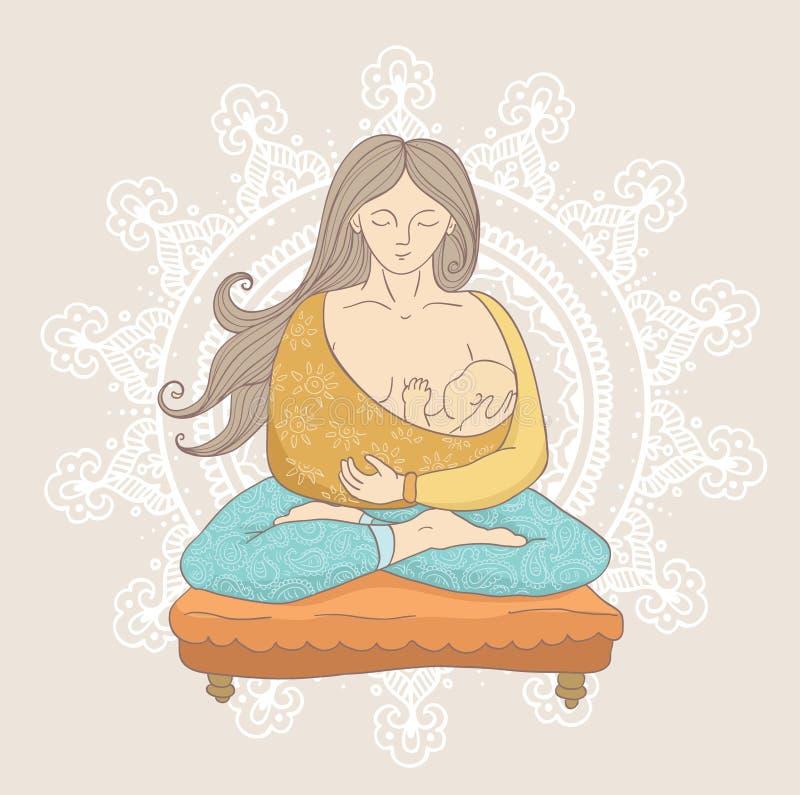 Młoda kobieta w kreskówki stylowy robi joga podczas gdy trzymający ślicznej i spokojnej chłopiec ilustracji