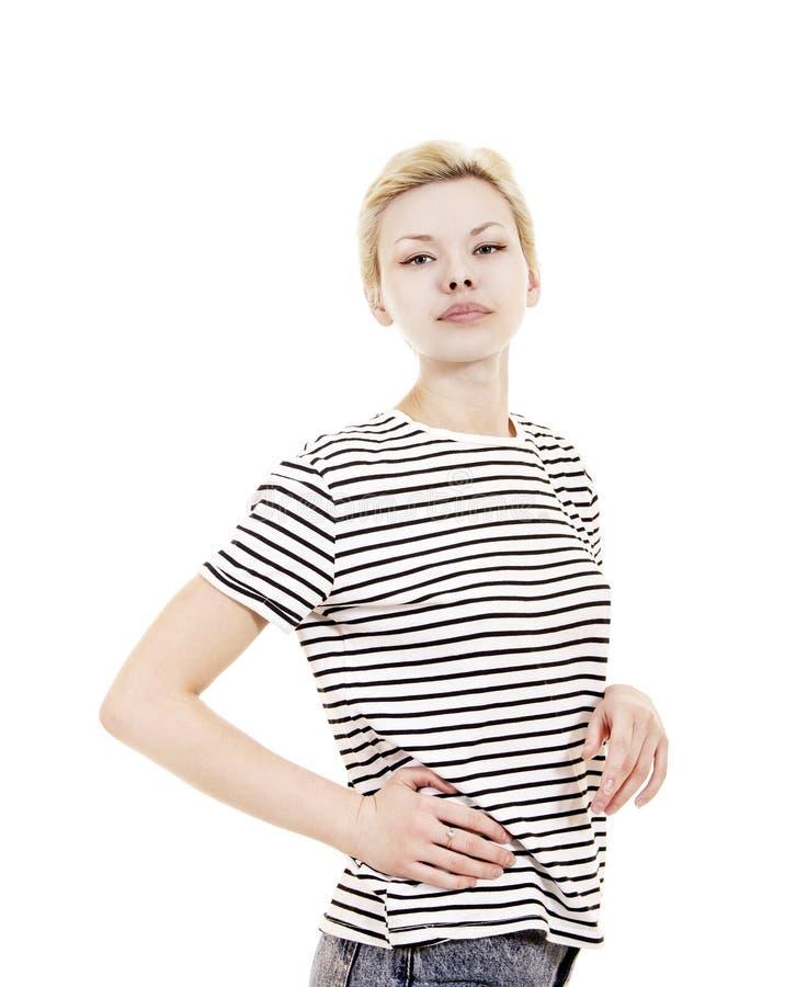 Młoda kobieta w pasiastej trójnik koszula zdjęcie stock