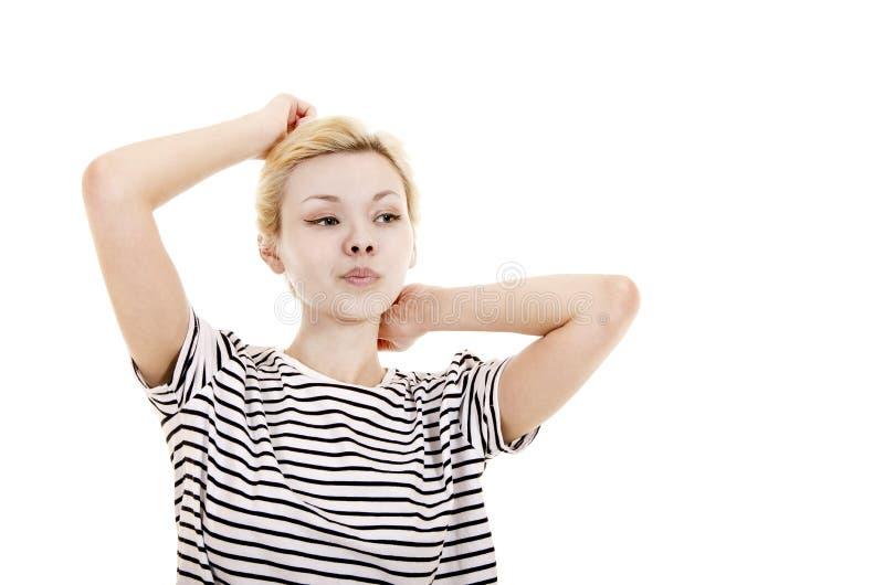 Młoda kobieta w pasiastej trójnik koszula obrazy stock