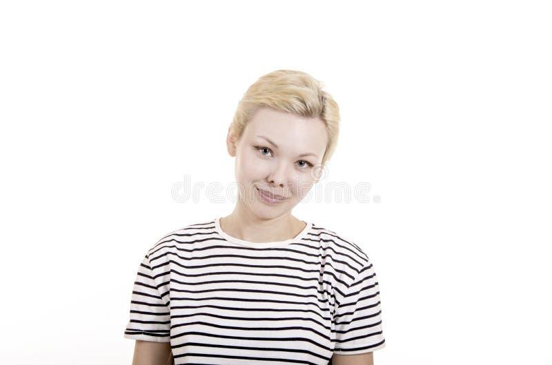Młoda kobieta w pasiastej trójnik koszula obraz stock