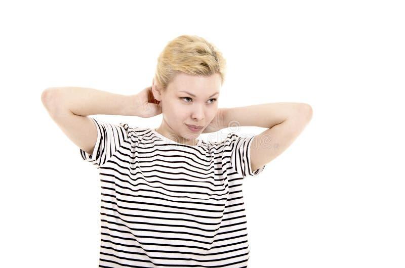 Młoda kobieta w pasiastej trójnik koszula zdjęcie royalty free