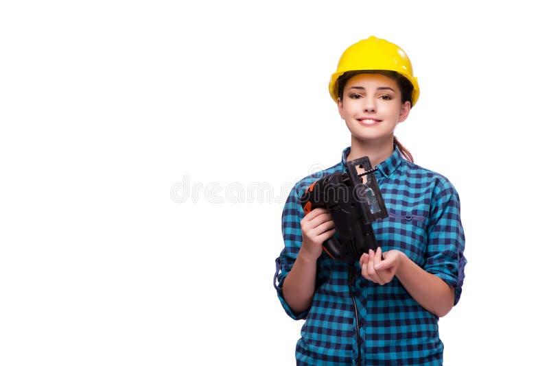 Młoda kobieta w przemysłowym pojęciu odizolowywającym na bielu zdjęcie stock