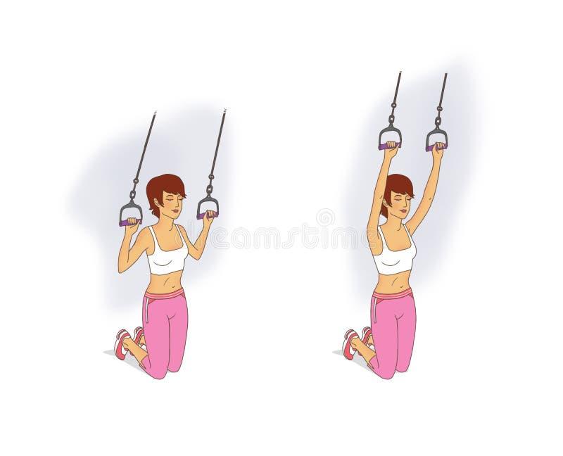 Młoda kobieta w różowych leggings i białej koszulce wykonuje ćwiczenia umacniać mięśnie naramienny podpasanie używać a ilustracji